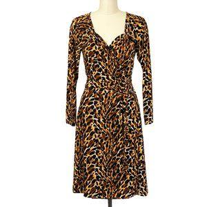 Norma Kamali Stretch Wrap Dress Leopard Print L